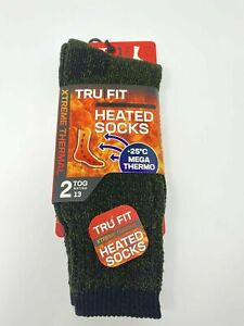 Tru Fit Unisex Heated Green Black Crew Socks 1 Pair Xtreme Thermal -25 C