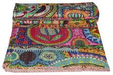 Indian Vintage patchwork Print Handmade Kantha Quilt Bedspread Queen Throw Decor