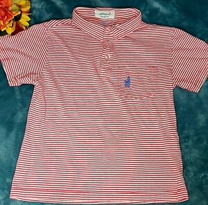 johnnie-O Boys Polo Shirt Size 6 Youth Red White Stripes Cotton Sunset Collar