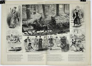 1875 THE NEW-YEARS SLEIGH-RIDE Double-Page Woodblock Print