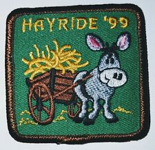 Hayride '99 Patch Embroidered Iron On Sew On Horse Donkey Cart Hay NEW