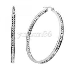 Women Rhinestone Stainless Steel Jewelry Big Hoop Ear Circle Round Earrings