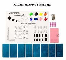 Nail Art Stamping Set: 8pcs Stamping Plates w holder, Nail Mat, Stamper, Scraper