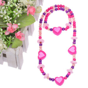 Newest Cute Girls Pink Heart Wood Beads Kids Necklace Bracelet Jewelry Set Gift