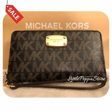 NWT MICHAEL KORS PVC JET SET LARGE FLAT MF PHONE CASE WALLET IN BLACK/DKBROWN