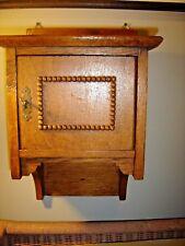 Antique Quarter Sawn Oak Wall Cabinet with decorative beading trim.8387