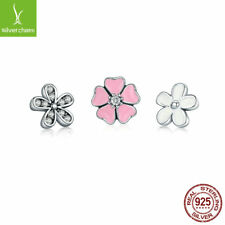 NEW 925 sterling silver Poetic Blooms, Pink Enamel & Clear CZ Floating Necklaces