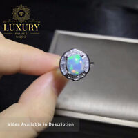 Natural Australia Opal Gemstone Solid 925 Sterling Silver Solitaire Women Rings