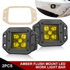 "2x Flush Mount LED Work Lights Bar Spot Flood Offroad Reverse Drving 4"" 5"" 6"" 7"""