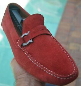 Salvatore Ferragamo Man's Blood Red  suede side buckle Drivers Loafer Sz 9.5EE