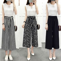 Women's Wide Leg High Waist Casual Summer Thin Pants Loose Culottes Trousers