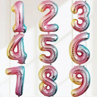 "32 "" Rainbow Digit Number Foil Balloons Inflatable Kids Toys Party Supplies UK"