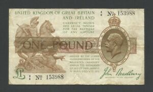 ENGLAND  KGV Bradbury £1 Z Control Note 1917-19  T16  Fine  Treasury Banknotes