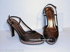FIONI - EVENING SHOE – BROWN SATIN & COPPER GLITTER HEELS - Size 8 - NEW $42