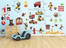 Fireman Sam Wall Stickers Decoration 3D Smashed Wall Vinyl Decor mural 35X70cmX2