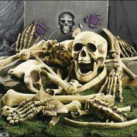 28Pcs Skeleton Bones Skull Scary Props Halloween Decor Graveyard Haunted Houses