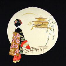 "Geisha Tapestry Furoshiki 27"" x  27.5""Chirimen Rayon Fabric Gift Wrap Made Japan"