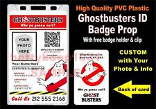 GHOSTBUSTERS ID Badge / Card Prop **CUSTOM W/ Your Name & Info** PVC Plastic ID