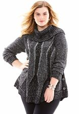 Roamans Plus Size Blak Cowl Neck Marbled Knit Pullover Sweater Long Sleeve DPSBM