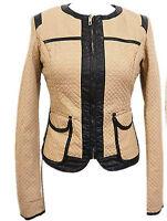 Womens Quilted Beige-Black Leather Jacket Pocket Crew Neck Crop Biker New Blazer