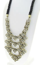 KENSIE Openwork Crystal Accent Rope Cord Brass-Tone Frontal Necklace $148