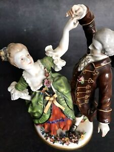 Antique Dresden Schierlholz Couple Lady Man Dancing Hand Paint Figure Excellent