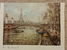 "Print of Eiffel Tower & Alexander III Bridge in Paris France - 14""x10 1/2"" Image"