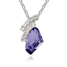18K White Gold Plated Made With Swarovski Crystal Galactic Cut Purple Necklace