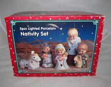 Lighted Porcelain Nativity Manger Christmas Holiday Candle Holder Gift Set Decor