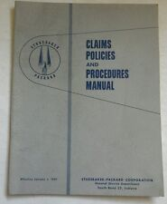STUDEBAKER PACKARD CLAIMS POLICIES AND PROCEDURES MANUAL 1957