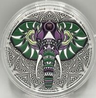 Niue - 2019 - Mandala Collection - Elephant - 2 oz Antiqued Finish Silver Coin