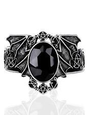 Silver Bat Necronomicon Bracelet Cuff Bangle w/ Black Stone Goth Horror Coccult