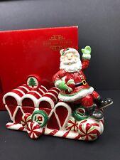 Fitz & Floyd Peppermint Santa Lidded Box Candy Dish 2008 Ceramic Euc Original