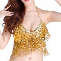 Sexy Belly Dance Bikini Paillette Latin Tops Costume Sequin Club Halter Bra Top