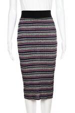 SOLEMIO Skirt Large Striped Knit Stretchy Tight Pencil Midi Pink White Black