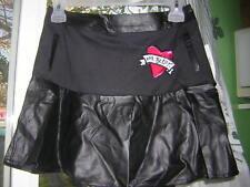 Girls Betsy Johnson Black Skirt BackZipper Lined LeatherLook  NWT