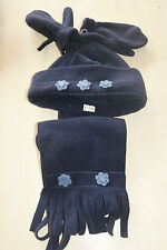 Ensemble bonnet, écharpe et moufles bleu taille 48 cm neuf