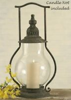 """STEEPLE LANTERN Dark Gray 21"""" TALL Candle Holder Metal Farmhouse Rustic Country"""