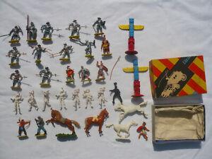 32 Elastolin HAUSSER 4cm Figuren Ritter Römer Landsknechte Indianer Pferde 1 OVP