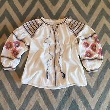 S New ANTHROPOLOGIE Embroidered Women's White Gauze Peasant Blouse Top - SMALL