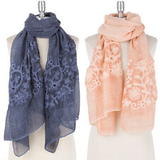 Women Spring Summer Flower Embroidered Oblong Scarf Shawl wrap Soft Long Large