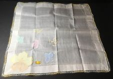 Vtg Appliquéd Hankie Handkerchief Nwt Blue Pink Yellow Green Flowers Lace Edge