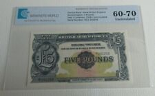 More details for britan armed forces £5 note uncirculated 1958 five pound graded ee1 292253