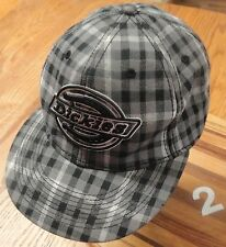 DICKIES BLACK/GRAY/WHITE PLAID HAT WIDE BRIM SIZE LARGE GOOD CONDITION