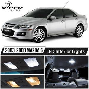 2003-2008 Mazda 6 White LED Interior Lights Package Kit + License Lights