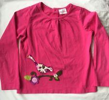 Hanna Andersson Shirt Size 130 (8) EUC Pink w/ Bird Appliqué Long Sleeve
