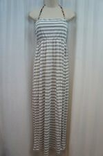 Miken Swim Cover Up Sz M Heather Grey White Striped Covertible Maxi Dress Skirt