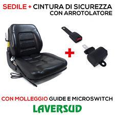 Sedile con Molleggio+Cintura Arrotolatore Trattore,Cingolato,Carrello Elevatore