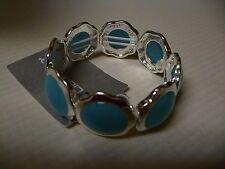 Liz Claiborne Bracelet Silver Tone Stretch Flower Shaped Blue Stones NEW