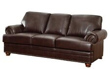 BREATHABLE BROWN LEATHERETTE NAILHEAD SOFA LIVING ROOM FURNITURE